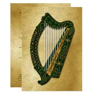 Irish Harp & Blessing - Flat 5 Card