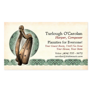Irish Harp Business Cards, Style 1, Horizontal Double-Sided Standard Business Cards (Pack Of 100)