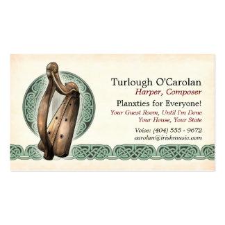 Irish Harp Business Cards, Style 1, Horizontal Business Card