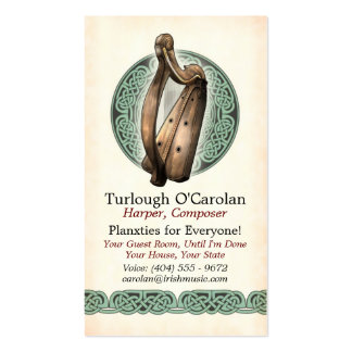 Irish Harp Business Cards Style 1 Vertical