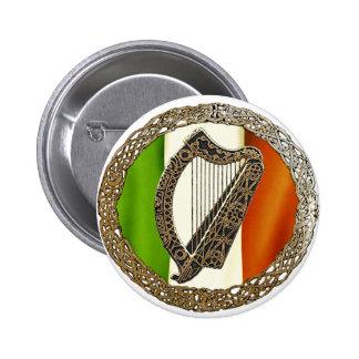 Irish Harp 2 Inch Round Button