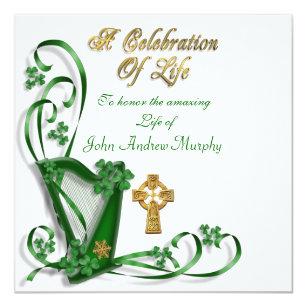 irish harp invitations zazzle