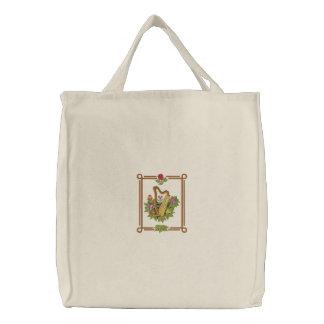 Irish Harp Embroidered Tote Bag