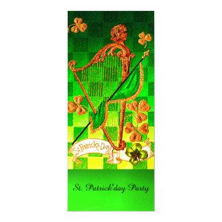 IRISH HARP, GREEN GOLD SHAMROCKS St Patrick's Day Card