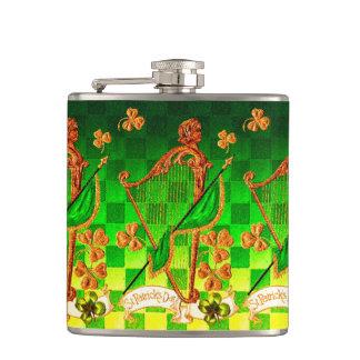 IRISH HARP, GREEN GOLD SHAMROCKS St Patrick's Day Flasks