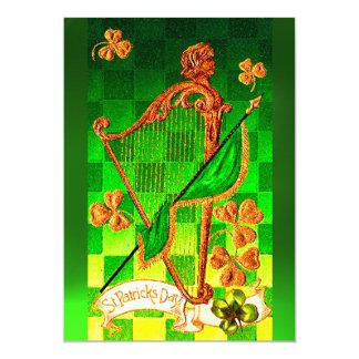 IRISH HARP, GREEN GOLD SHAMROCKS St Patrick's Day 5x7 Paper Invitation Card