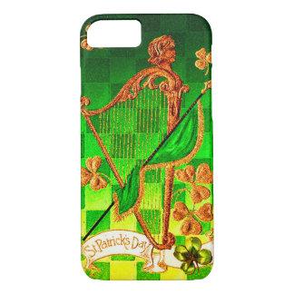 IRISH HARP, GREEN GOLD SHAMROCKS St Patrick's Day iPhone 7 Case