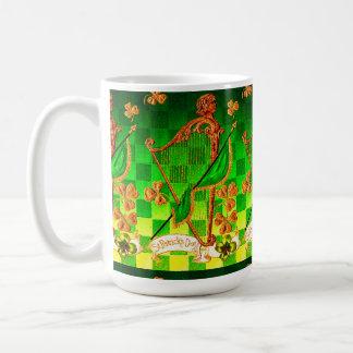 IRISH HARP, GREEN GOLD SHAMROCKS St Patrick's Day Classic White Coffee Mug