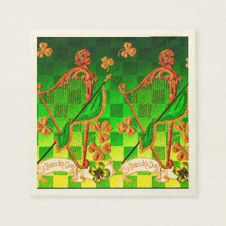 IRISH HARP, GREEN GOLD SHAMROCKS St Patrick's Day Standard Cocktail Napkin