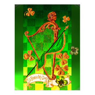 IRISH HARP, GREEN GOLD SHAMROCKS St Patrick's Day Postcard