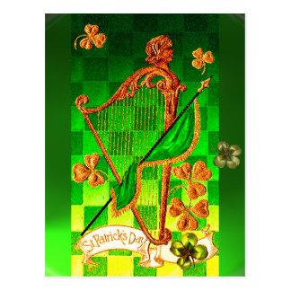 IRISH HARP, GREEN GOLD SHAMROCKS St Patrick's Day Postcard