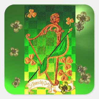 IRISH HARP, GREEN GOLD SHAMROCKS St Patrick's Day Square Sticker