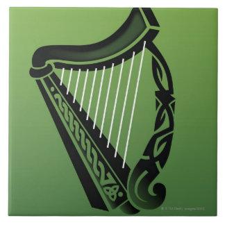 Irish harp large square tile