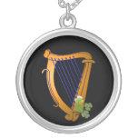 Irish Harp Silver Plated Necklace