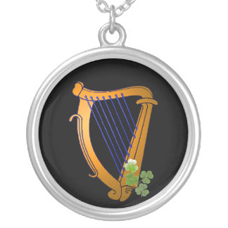 Irish Harp Silver Plated Necklace