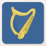 Irish Harp Square Paper Coaster