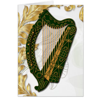Irish Harp w/ Poppies and gold Leaves - 3 Card