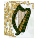 Irish Harp w/ Poppies and gold Leaves - Flat 3 Card
