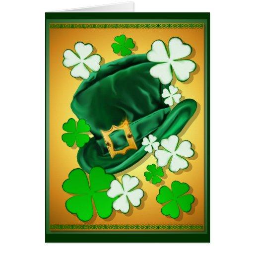 Irish Hat and Shamrocks Card