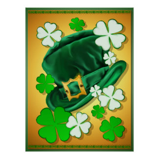 Irish Hat and Shamrocks Poster