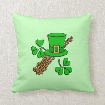 Irish Hat and Shamrocks Throw Pillow