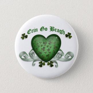 Irish heart Erin Go Bragh green heart Button