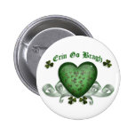Irish heart Erin Go Bragh green heart Button