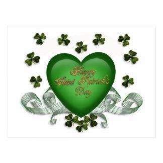 Irish heart Erin Go Bragh green heart Postcard