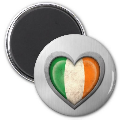 Irish Heart Flag Stainless Steel Effect Fridge Magnet