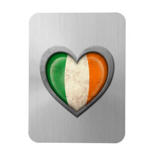 Irish Heart Flag Stainless Steel Effect Rectangular Magnet