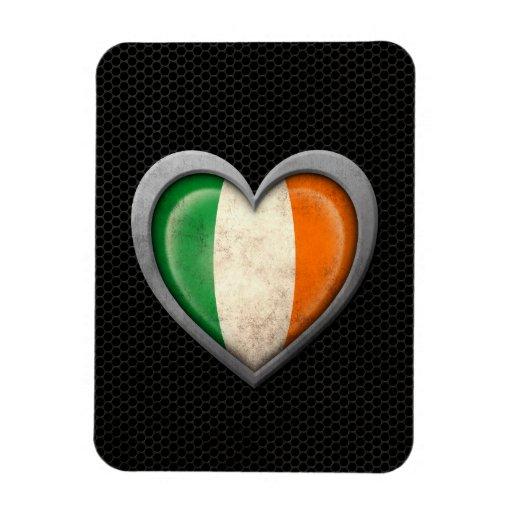 Irish Heart Flag Steel Mesh Effect Rectangle Magnet