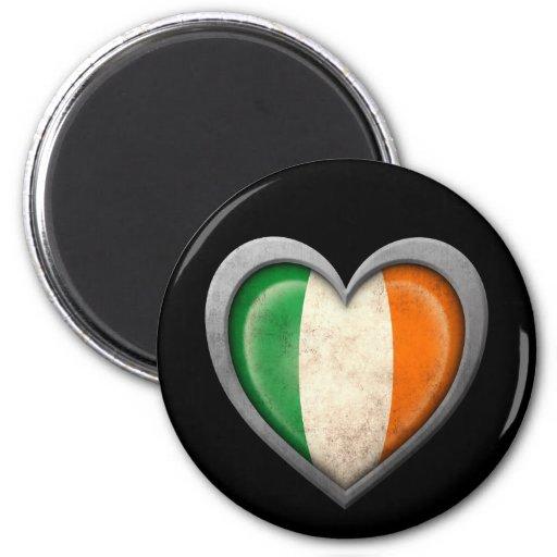 Irish Heart Flag with Metal Effect Fridge Magnets
