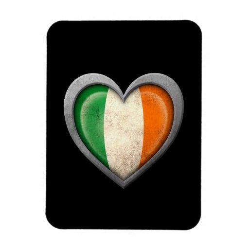 Irish Heart Flag with Metal Effect Rectangular Magnets