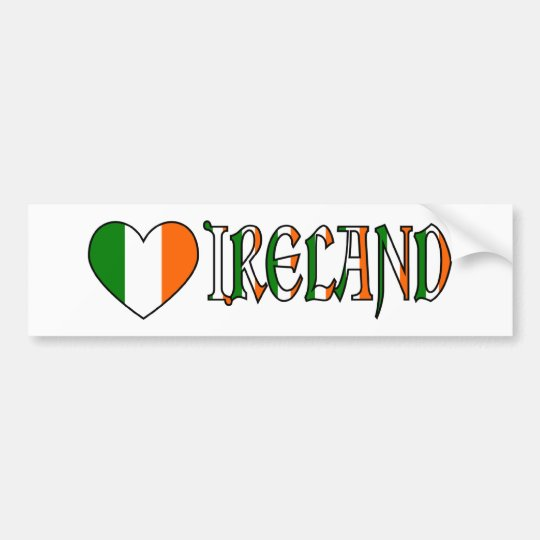 Irish Heart Flag & Word Ireland Bumper Sticker