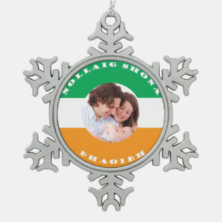 Irish Heritage Family Photo Custom Christmas Snowflake Pewter Christmas Ornament