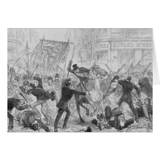 Irish Home Rule Riots in Glasgow, c.1880s Card