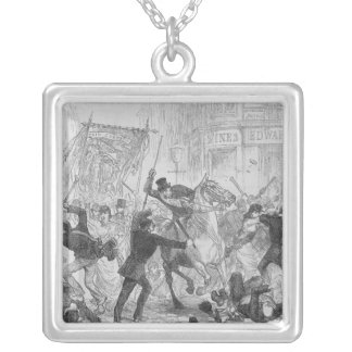 Irish Home Rule Riots in Glasgow, c.1880s Square Pendant Necklace