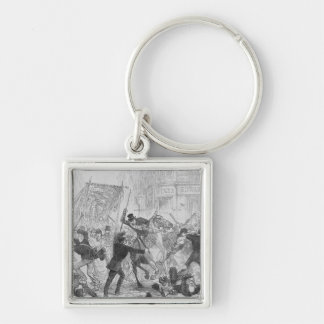 Irish Home Rule Riots in Glasgow, c.1880s Silver-Colored Square Keychain
