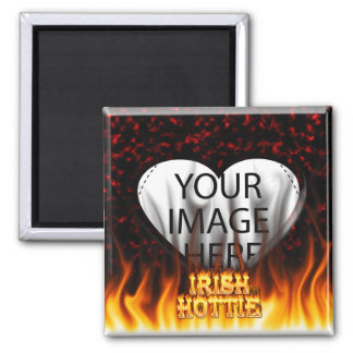 Irish hottie fire and flames Red marble 2 Inch Square Magnet