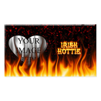 Irish hottie fire and flames Red marble Business Cards