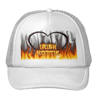 Irish hottie fire and flames Red marble Mesh Hats