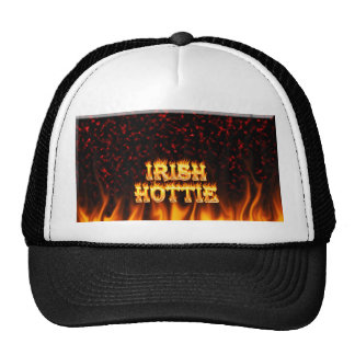 Irish hottie fire and flames Red marble Trucker Hats