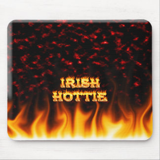 Irish hottie fire and flames Red marble Mousepads