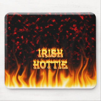 Irish hottie fire and flames Red marble Mouse Pad