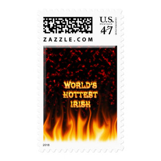 Irish hottie fire and flames Red marble. Postage Stamp