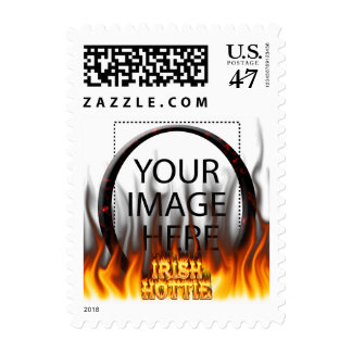 Irish hottie fire and flames Red marble Postage Stamp