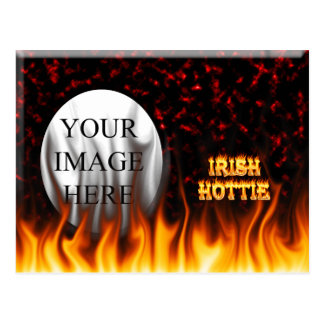 Irish hottie fire and flames Red marble Postcard