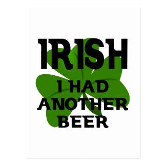 Irish I Had Another Beer Postcard