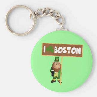 Irish I love Boston Keychain