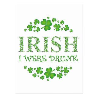 Irish I Were Drunk Postcard